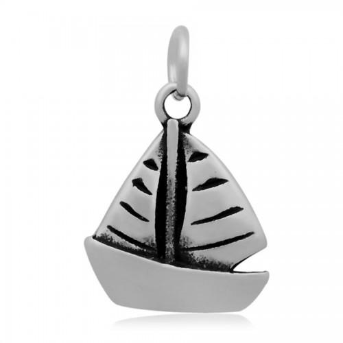 Ocelový přívěsek s kroužkem - plachetnice