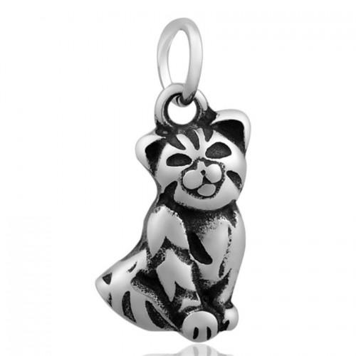 Ocelový přívěsek s kroužkem - kočička