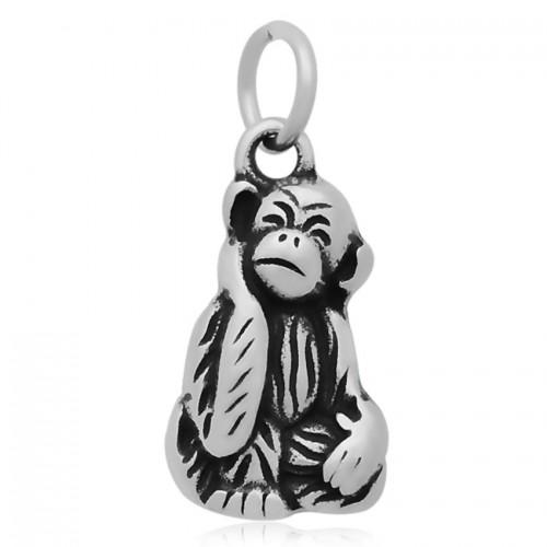Ocelový přívěsek s kroužkem - opička