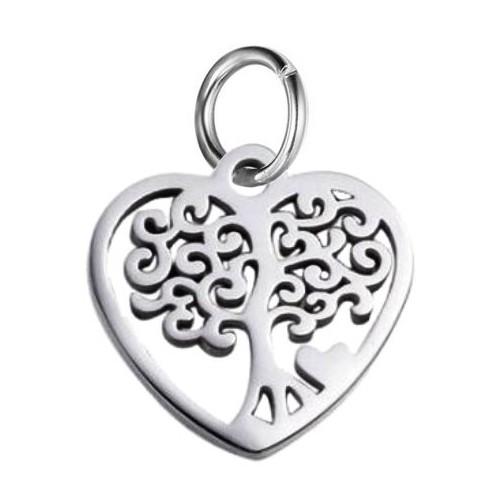 Malý ocelový přívěsek srdce strom života