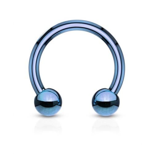 Piercing podkova, barva modrá (1,2 x 8 mm)