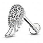 Labreta / piercing do brady - křídlo (stříbrná) [1]