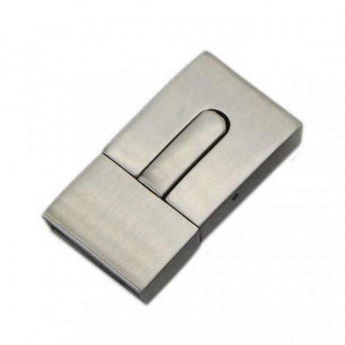 Ocelový uzávěr na náramek, matný povrch, 15 x 3 mm