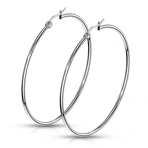 Ocelové náušnice - kruhy 60 mm