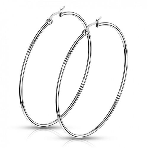 Ocelové náušnice - kruhy 65 mm