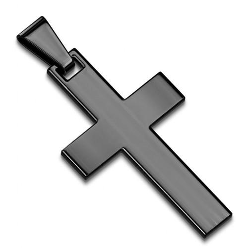Černý ocelový přívěsek - kříž