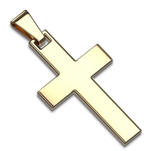 Zlatý ocelový přívěsek - kříž