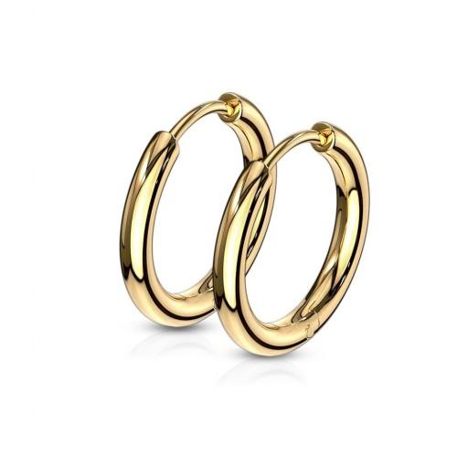 Zlacené ocelové náušnice - kruhy 15 mm