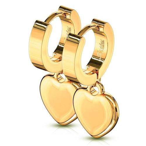 Zlacené ocelové náušnice - kroužky se srdíčky