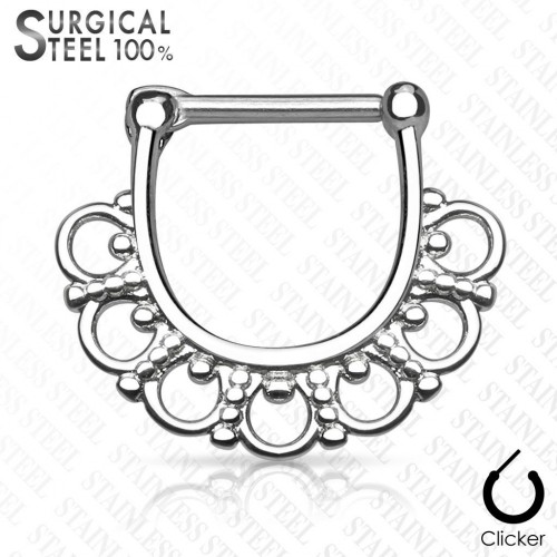 Ocelový piercing do nosu - septum