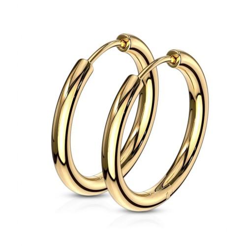 Zlacené ocelové náušnice - kruhy 19 mm