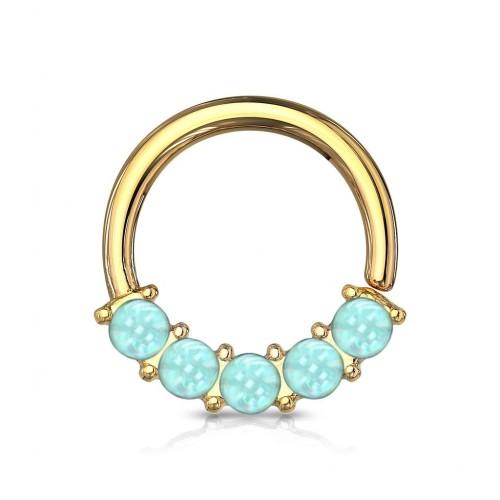 Zlacený piercing kruh s modrými kameny 1,0 x 10 mm