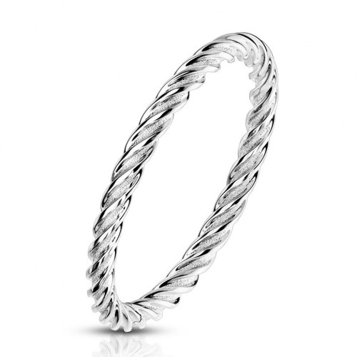Ocelový prsten kroucený, vel. 52