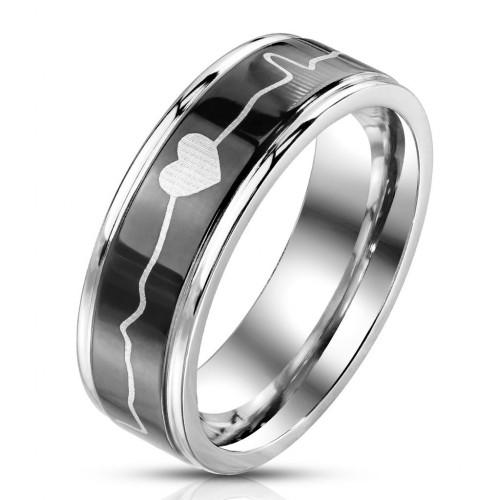 Ocelový prsten Heartbeat (68)