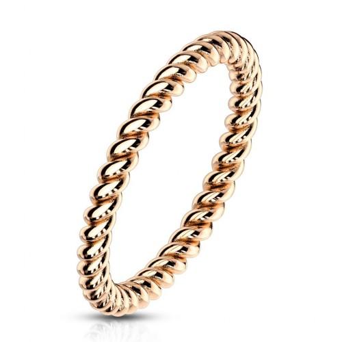Zlacený ocelový prsten kroucený (58)