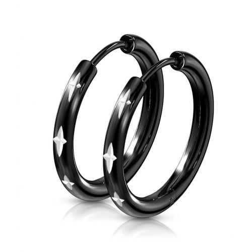 Černé ocelové náušnice s křížkovým dekorem
