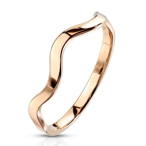 Zlacený ocelový prsten vlnka (50)