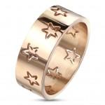 Ocelový prsten s hvězdami zlacený, vel. 55 [0]