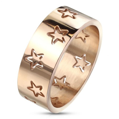 Ocelový prsten s hvězdami zlacený (55)
