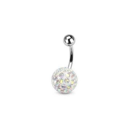 Piercing do pupíku s kamínky Crystals From Swarovski® AB (1,6 x 6 mm)