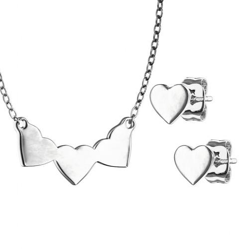 Set šperků z chirurgické oceli, srdíčka