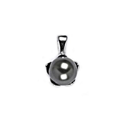 Stříbrný přívěsek perla 8mm Crystals from Swarovski® Gray