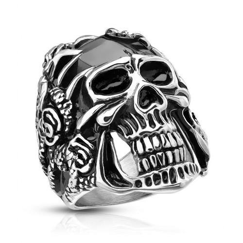 Ocelový prsten lebka (62)