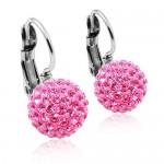 Ocelové náušnice koule 10 mm Crystals from Swarovski® Pink [0]