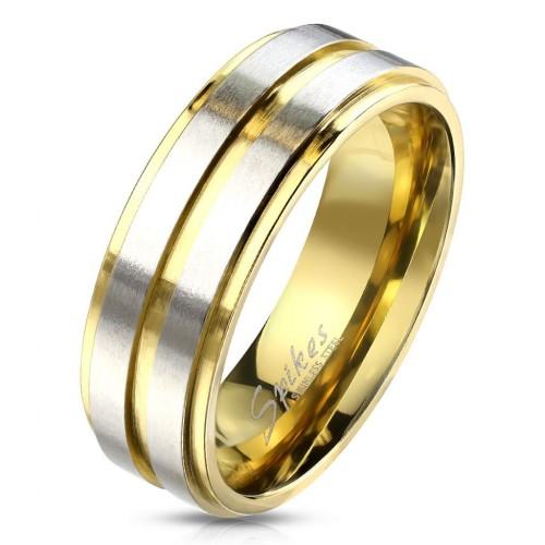 OPR1764 Dámský snubní ocelový prsten s pruhy (52)