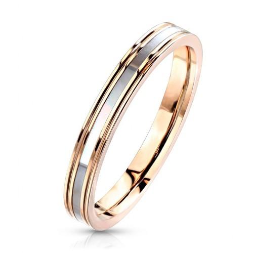 Ocelový prsten s perletí, vel. 52