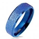 Modrý ocelový prsten pískovný, vel. 62 [0]