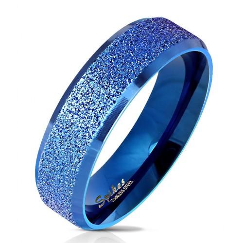 Modrý ocelový prsten pískovný, vel. 62