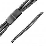 Kožený náramek s černou komponenty, délka 20 cm [1]
