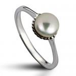 Stříbrný prsten s přírodní perlou 5,5 mm (1,30 g, 51) [0]