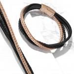 Kožený náramek černo-zlatý, délka 19 cm [3]