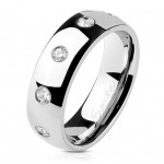 Ocelový prsten se zirkony, šíře 6 mm (60) [0]