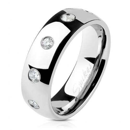 Ocelový prsten se zirkony, šíře 6 mm (60)