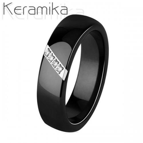 Keramický prsten černý, šíře 6 mm (52)