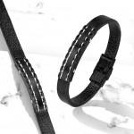 Kožený náramek s černou destičkou, délka 20 cm [3]