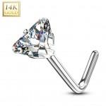 Zlatý piercing do nosu trojúhelník - čirý zirkon, Au 585/1000 [0]