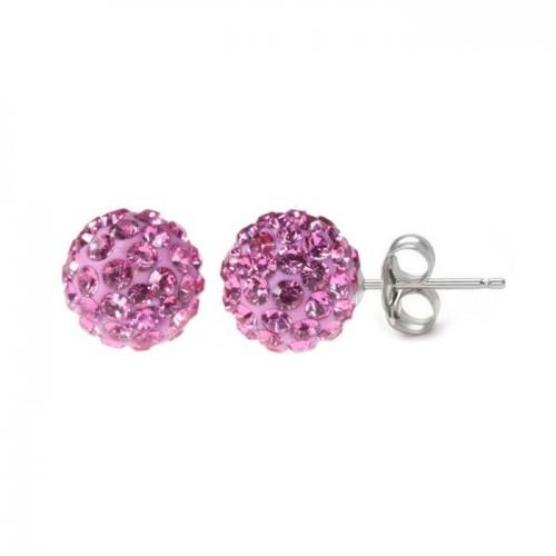 Stříbrné náušnice 6mm kuličky Crystals from Swarovski® Pink