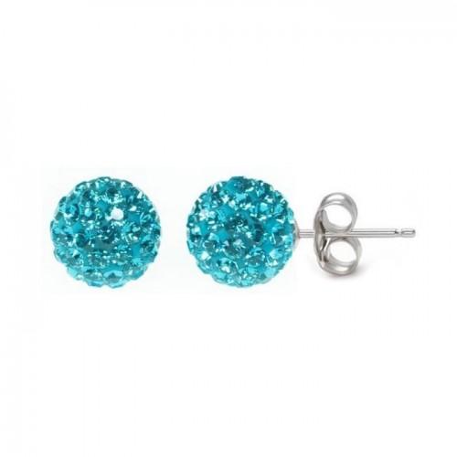 Stříbrné náušnice 6mm kuličky Crystals from Swarovski® Aqua