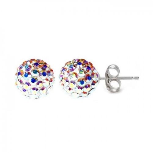 Stříbrné náušnice 6mm kuličky Crystals from Swarovski® AB