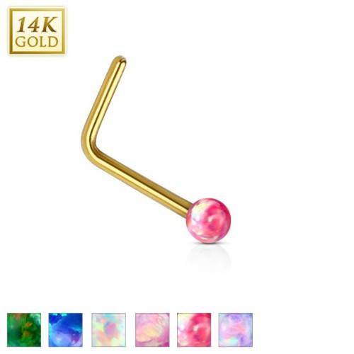 Zlatý piercing do nosu Opál, Au 585/1000 (fialová, 0,12 g, 2 mm, 0,8 x 6 mm)
