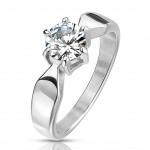 Ocelový prsten se zirkonem, vel. 52 [0]