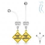 Těhotenský piercing do pupíku - baby on board (čirá, 1,6 x 26 mm) [1]
