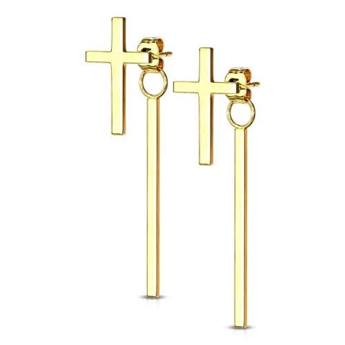 Zlacené ocelové náušnice křížky
