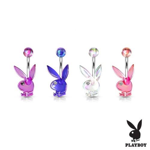 Akrylátový piercing do pupíku, zajíček Playboy (čirá, 1,6 x 10 mm)