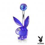 Akrylátový piercing do pupíku, zajíček Playboy (čirá, 1,6 x 10 mm) [2]