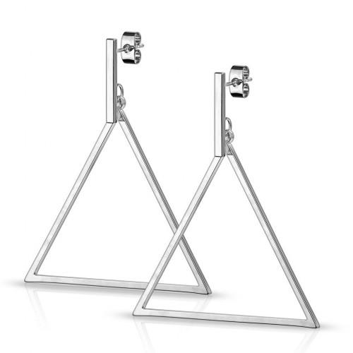 Visací ocelové náušnice trojúhelníky